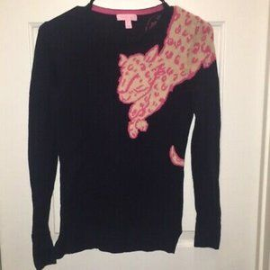 Small navy and pink Lily Pulitzer Leopard sweater